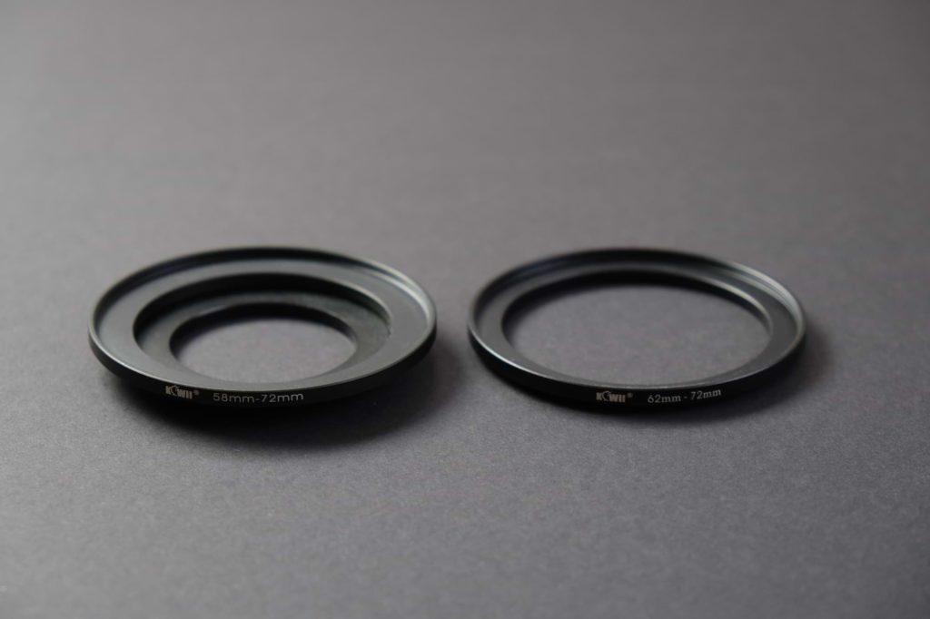 Step-up-Ringe ermöglichen die Verwendung eines Kamerafilters auf verschiedenen Objektiven